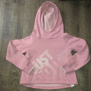 Light pink high low fleece hoodie